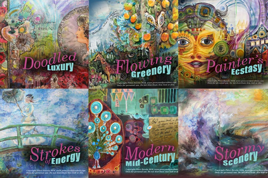 Imagine Monthly Spring 2016 Bundle, 6 classes filled with art journaling techniques and inspired by world-class artists like Claude Monet etc., by Peony and Parakeet