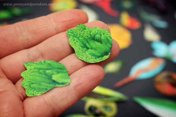 Painted papers cut to collage pieces. By Paivi Eerola of Peony and Parakeet.