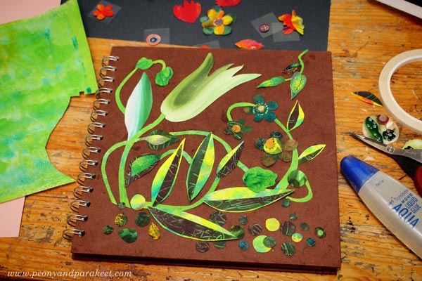 Composing a painted paper collage. By Paivi Eerola of Peony and Parakeet.