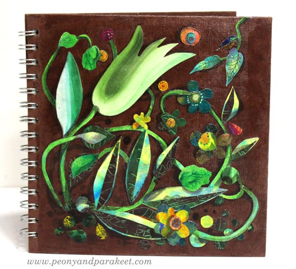 A painted paper collage. A sketchbook cover by Paivi Eerola of Peony and Parakeet.