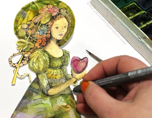 Drawing a paper doll. By Paivi Eerola of Peony and Parakeet.