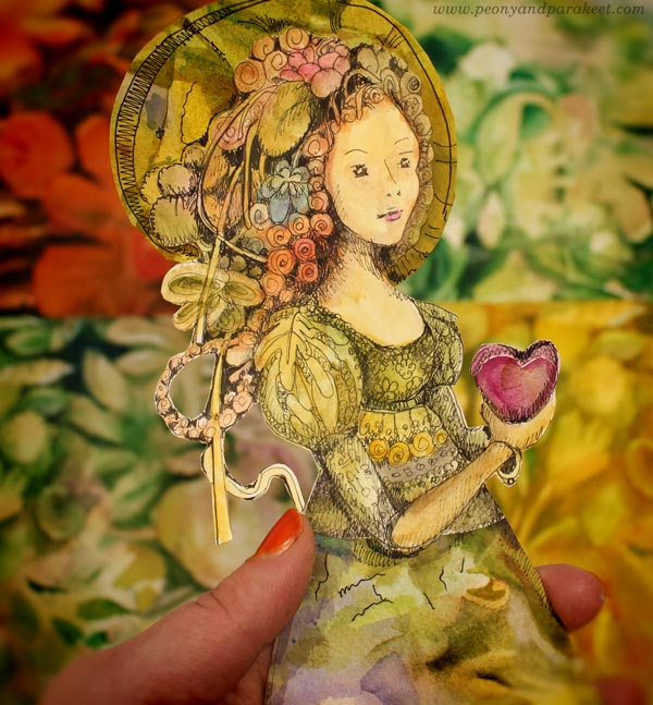 Hand-drawn paper doll inspired by Esther Denham of Sanditon. By Paivi Eerola of Peony and Parakeet.