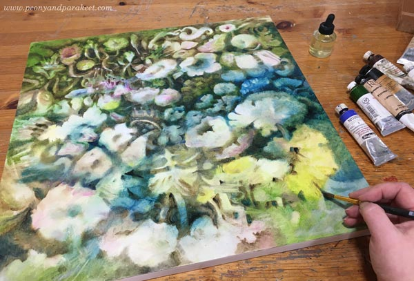 Oil painting in progress. By Paivi Eerola of Peony and Parakeet.