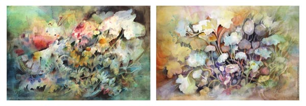 Two watercolor paintings of Paivi Eerola, an artist from Finland.