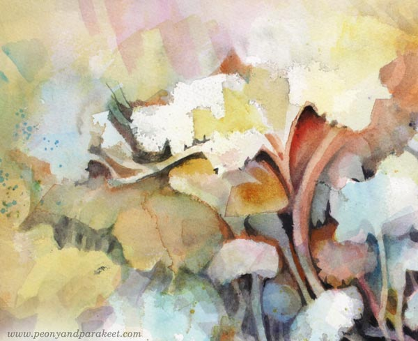 A detail of Torchbearer. Inspired by Esther Denham of Sanditon. A watercolor painting by Paivi Eerola of Peony and Parakeet.