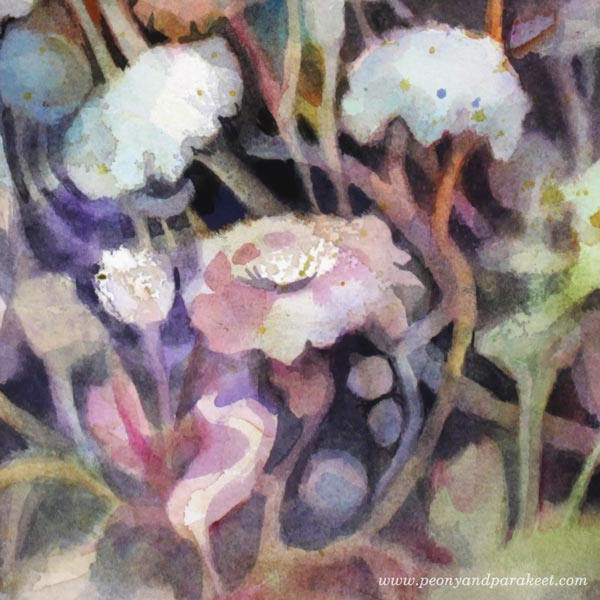 A detail of Torchbearer. A watercolor painting by Paivi Eerola of Peony and Parakeet.