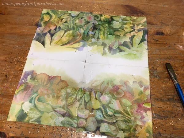 Designing a surface pattern in watercolor. By Paivi Eerola of Peony and Parakeet.