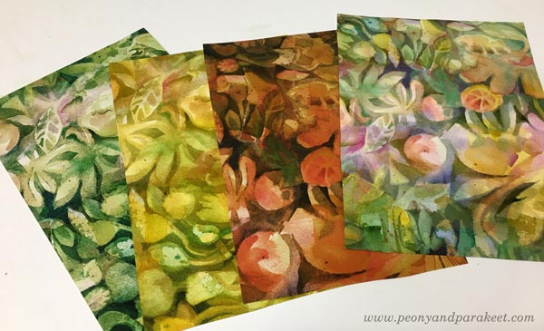 Designing a surface pattern in watercolor. Test prints. By Paivi Eerola of Peony and Parakeet.