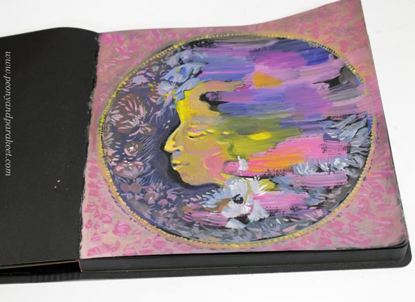Paint spiritual energy! Art journal page by Paivi Eerola of Peony and Parakeet. See her step-by-step instructions!