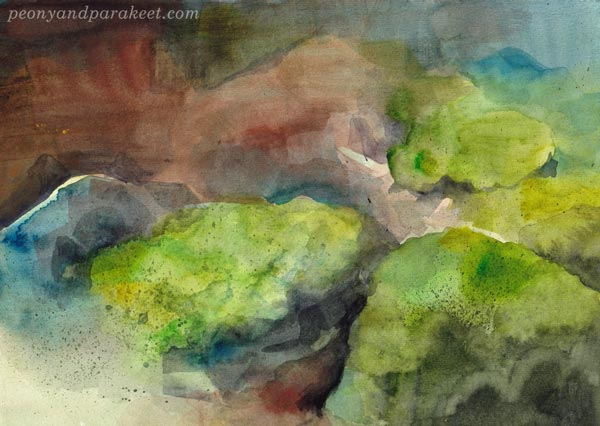 Stones in the forest. A watercolor painting by Paivi Eerola of Peony and Parakeet. About expressing hope in the chaos.