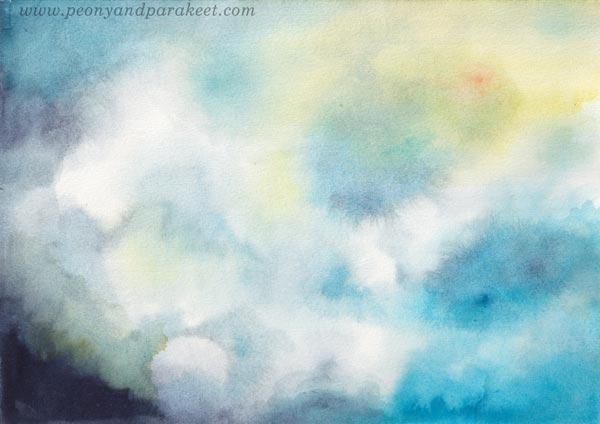Sunny sky and soft clouds, a  watercolor painting by Paivi Eerola of Peony and Parakeet. Expressing hope and hopefulness through art.
