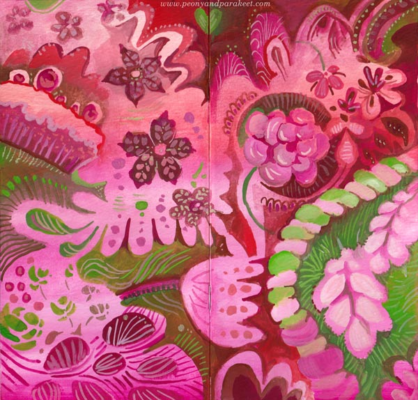 Hand-painted traveler's notebook journal covers by Paivi Eerola of Peony and Parakeet.