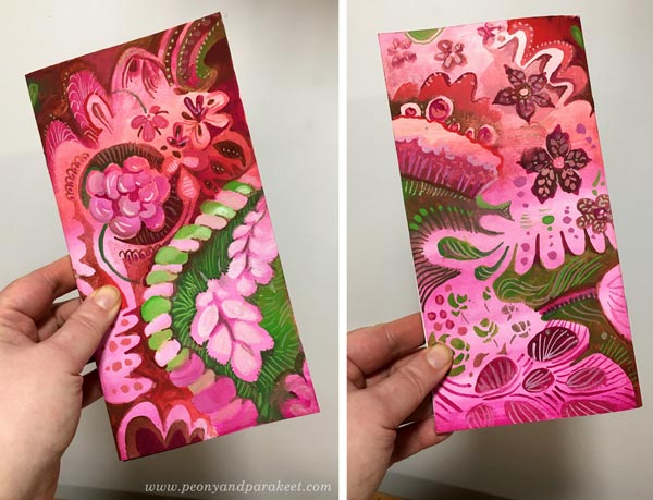 Hand-painted traveler's notebook journal covers in a decorative art style. By Paivi Eerola of Peony and Parakeet.