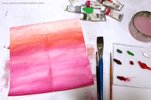 Using gouache paints on an art journal. By Paivi Eerola of Peony and Parakeet.