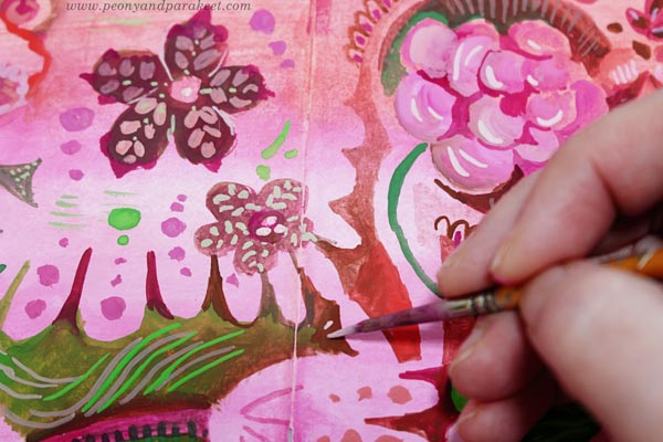 Painting details in a decorative art style. By Paivi Eerola of Peony and parakeet.