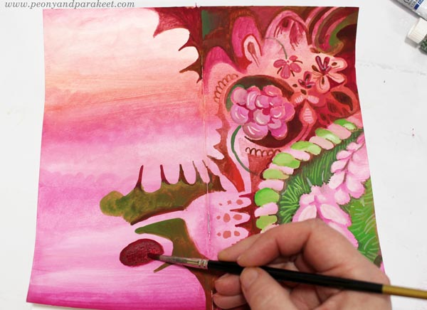 Painting journal covers in a decorative art style. By Paivi Eerola of Peony and parakeet.