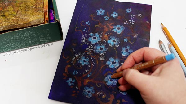 Making a hand-decorated paper by Paivi Eerola of Peony and Parakeet