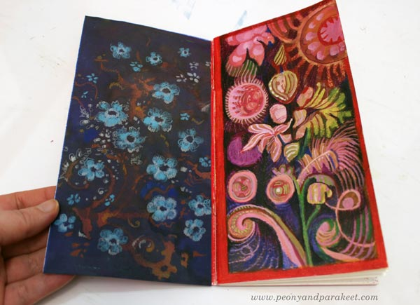 Traveler's notebook art journal spread by Paivi Eerola of Peony and Parakeet. Creating in a decorative art style.