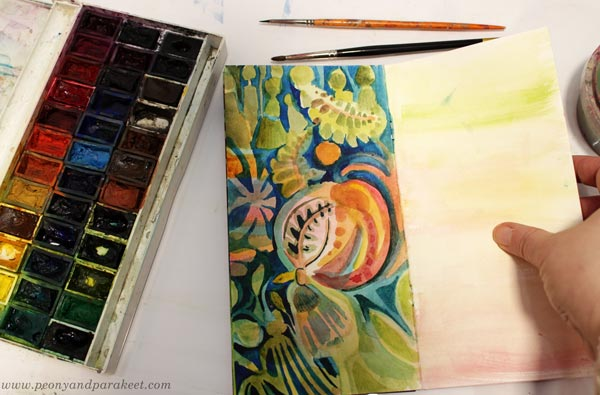 Watercolors on an art journal page. Creating in a decorative art style by Paivi Eerola of Peony and Parakeet.