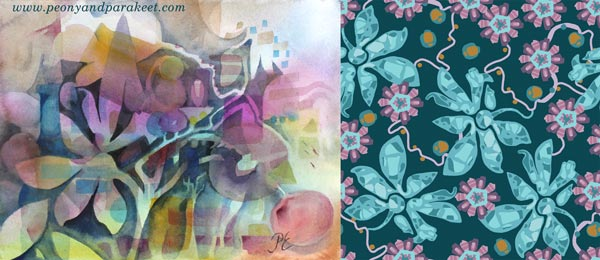 Surface pattern design, ideas from original art. By Paivi Eerola of Peony and Parakeet.