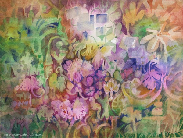 """Baroquai"" - a watercolor painting by Paivi Eerola of Peony and Parakeet. Read her tips for painting through difficult times."