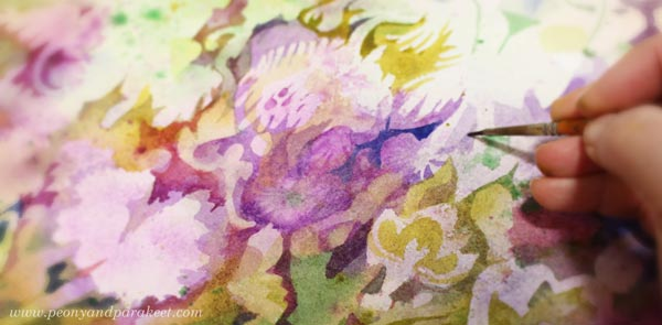 A decorative watercolor painting in progress. By Paivi Eerola of Peony and Parakeet.