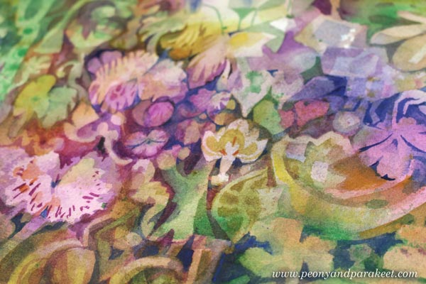 "A detail of ""Baroquai"" - a watercolor painting by Paivi Eerola of Peony and Parakeet. Read her tips for painting through difficult times."