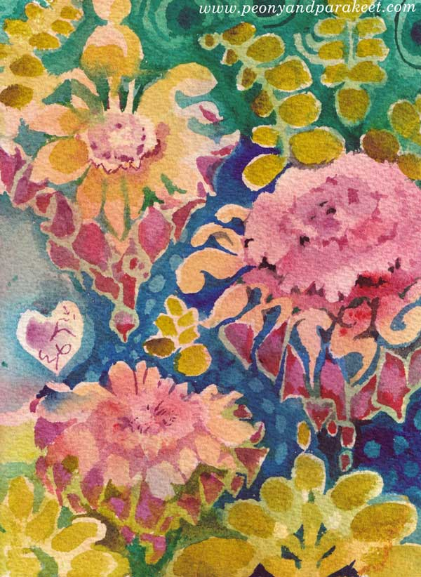 Ornamental Flowers - a watercolor greeting card by Paivi Eerola of Peony and Parakeet
