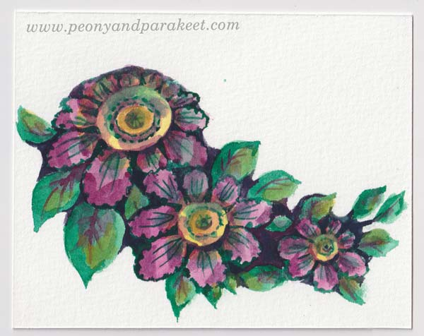 Watercolor flowers step by step, a tutorial by Paivi Eerola of Peony and Parakeet.