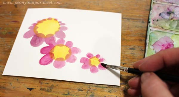 Step 2 of a vintage style flower tutorial by Paivi Eerola of Peony and Parakeet.