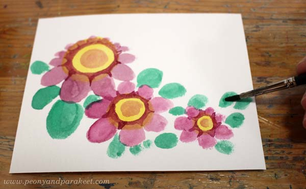 Step 4 of a vintage style flower tutorial by Paivi Eerola of Peony and Parakeet.