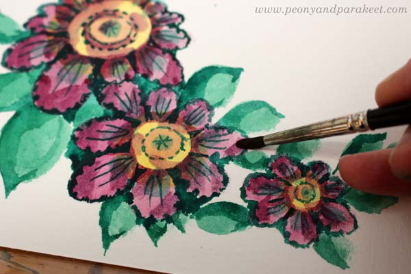 Step 5 of a vintage style flower tutorial by Paivi Eerola of Peony and Parakeet.