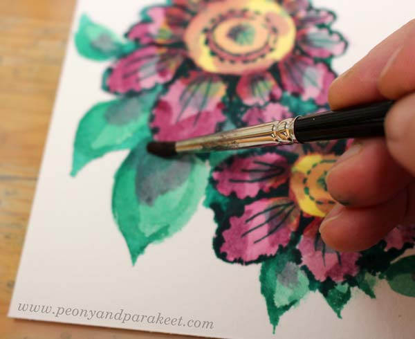 Step 6 of a vintage style flower tutorial by Paivi Eerola of Peony and Parakeet.