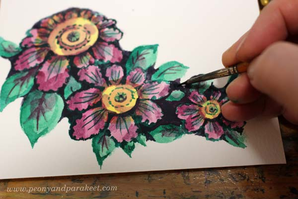 Step 7 of a vintage style flower tutorial by Paivi Eerola of Peony and Parakeet.