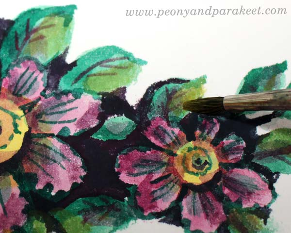 Step 8 of a vintage style flower tutorial by Paivi Eerola of Peony and Parakeet.