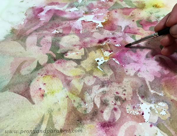 A watercolor painting in progress. By artist Paivi Eerola of Peony and Parakeet.