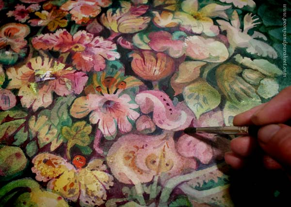 A floral watercolor painting in progress. By Paivi Eerola of Peony and Parakeet.