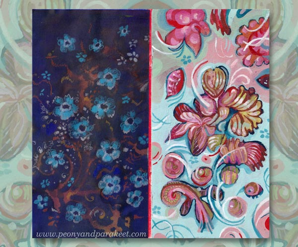 Decorative paintings on a small notebook. By Paivi Eerola of Peony and Parakeet.