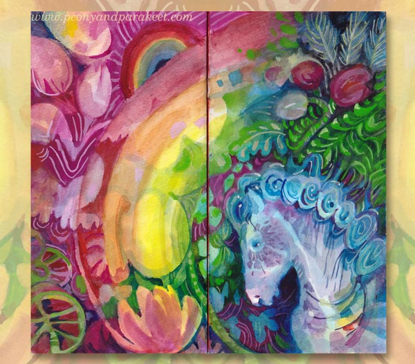 A spread of Paivi's Rainbow Journal. By artist Paivi Eerola of Peony and Parakeet.