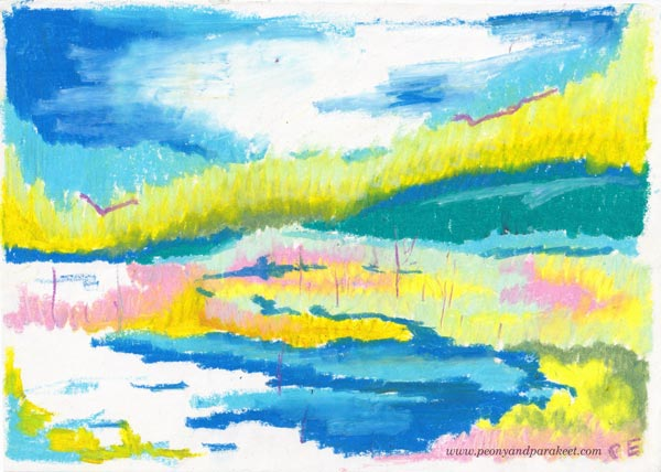 Landscape with crayons by artist Paivi Eerola. From her teenage years.