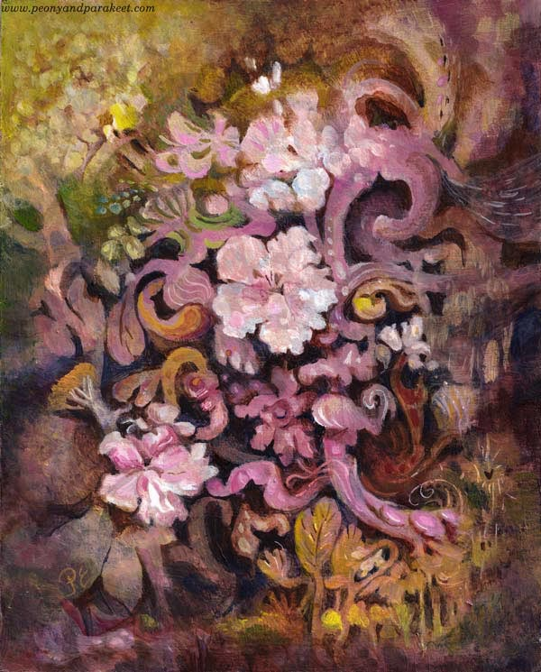 Dulciana, an acrylic painting by paivi Eerola of Peony and Parakeet. Inspired by flowering trees.