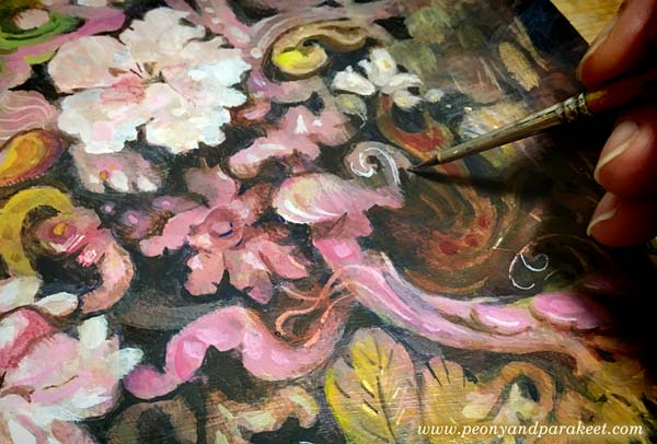 Acrylic painting in progress. Focusing on swirls and ruffles inspired by flowering trees. By Paivi Eerola of Peony and Parakeet.
