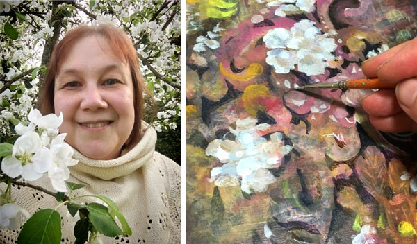 Artist Paivi Eerola and painting apple blossoms.