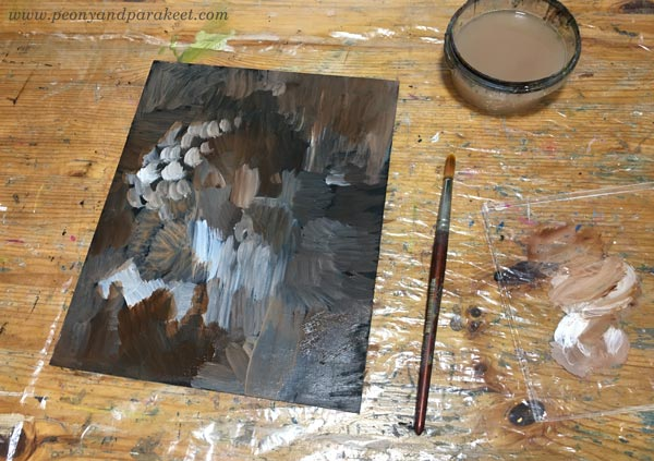 Starting a painting. Abstract shapes, shadows and light. By Paivi Eerola of Peony and Parakeet.