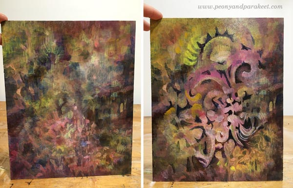 Intuitive painting in progress. By Paivi Eerola of Peony and Parakeet.