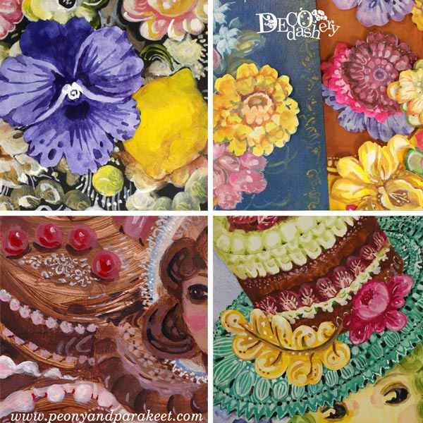 Decodashery, sneak peeks, an online art class by Paivi Eerola of Peony and Parakeet.,