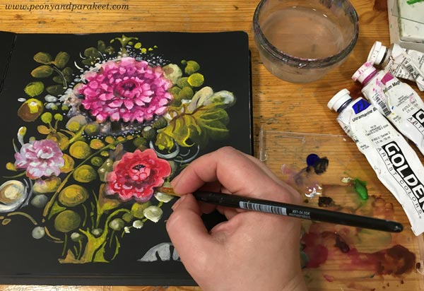 A floral collage painting in progress. By Paivi Eerola of Peony and Parakeet.