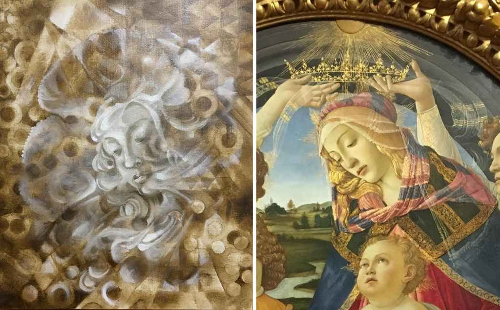 "Using a reference. ""Heaven and Earth"" in an underpainting stage by Paivi Eerola and ""Madonna of the Magnificat"" by Sandro Botticelli. Read about Paivi's thoughts on painting imaginary people with or without a reference."