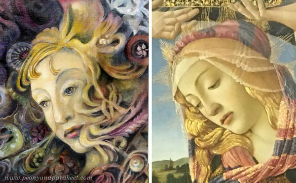"Using a reference. ""Heaven and Earth"" by Paivi Eerola and ""Madonna of the Magnificat"" by Sandro Botticelli."