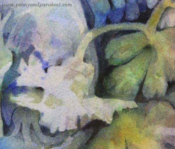 "A detail of ""Mirimer"" - a floral watercolor painting by Paivi Eerola of Peony and Parakeet."